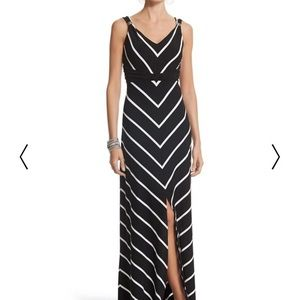 White House Black Market chevron stripe maxi dress